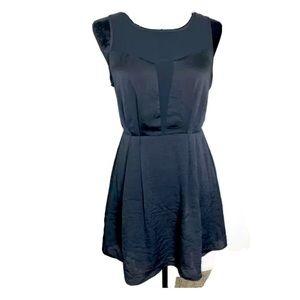 BCBGeneration Black Mesh Insert Fit & Flare Dress